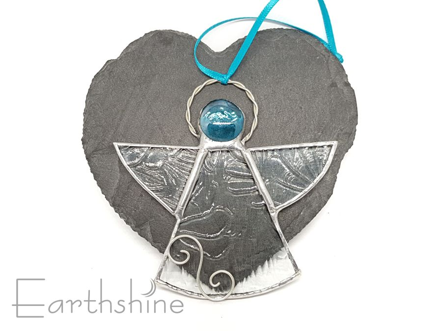 Turquoise Stained Glass Angel Christmas Tree Decoration
