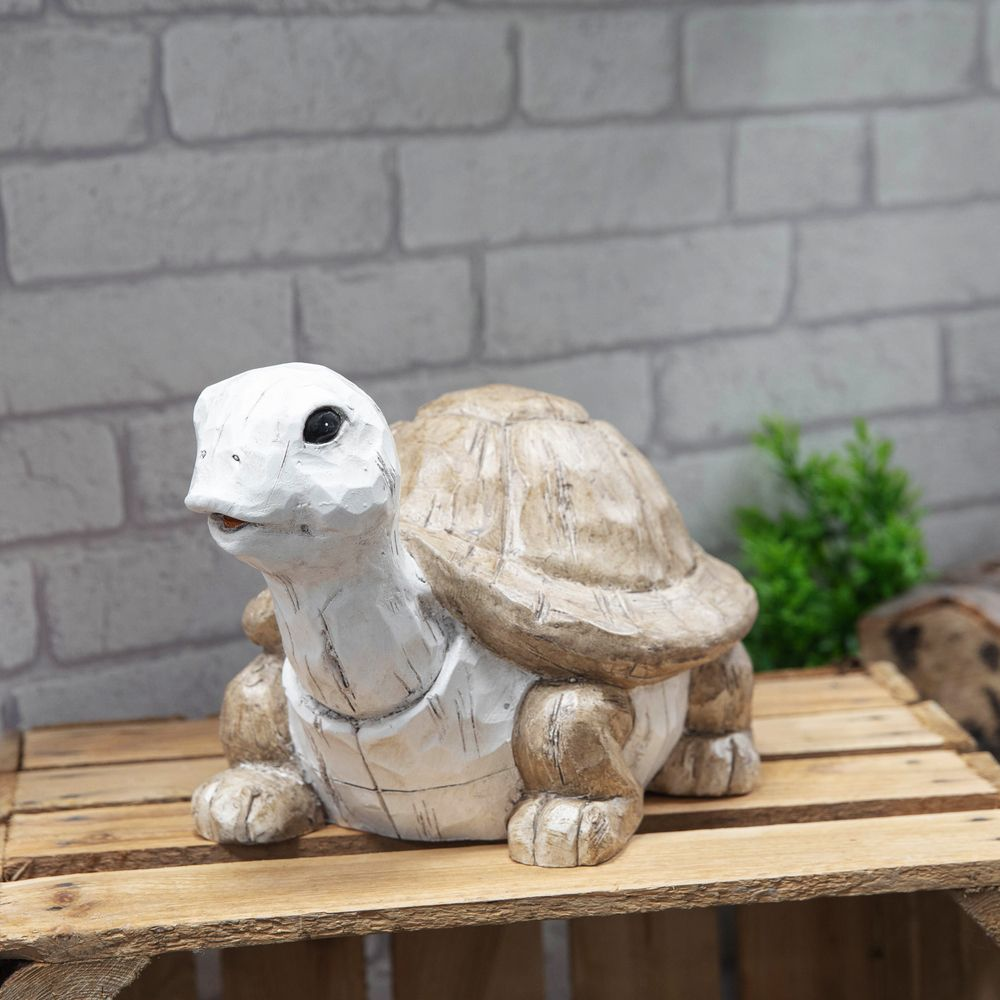 Carved Wood Effect Garden Ornament - Tortoise