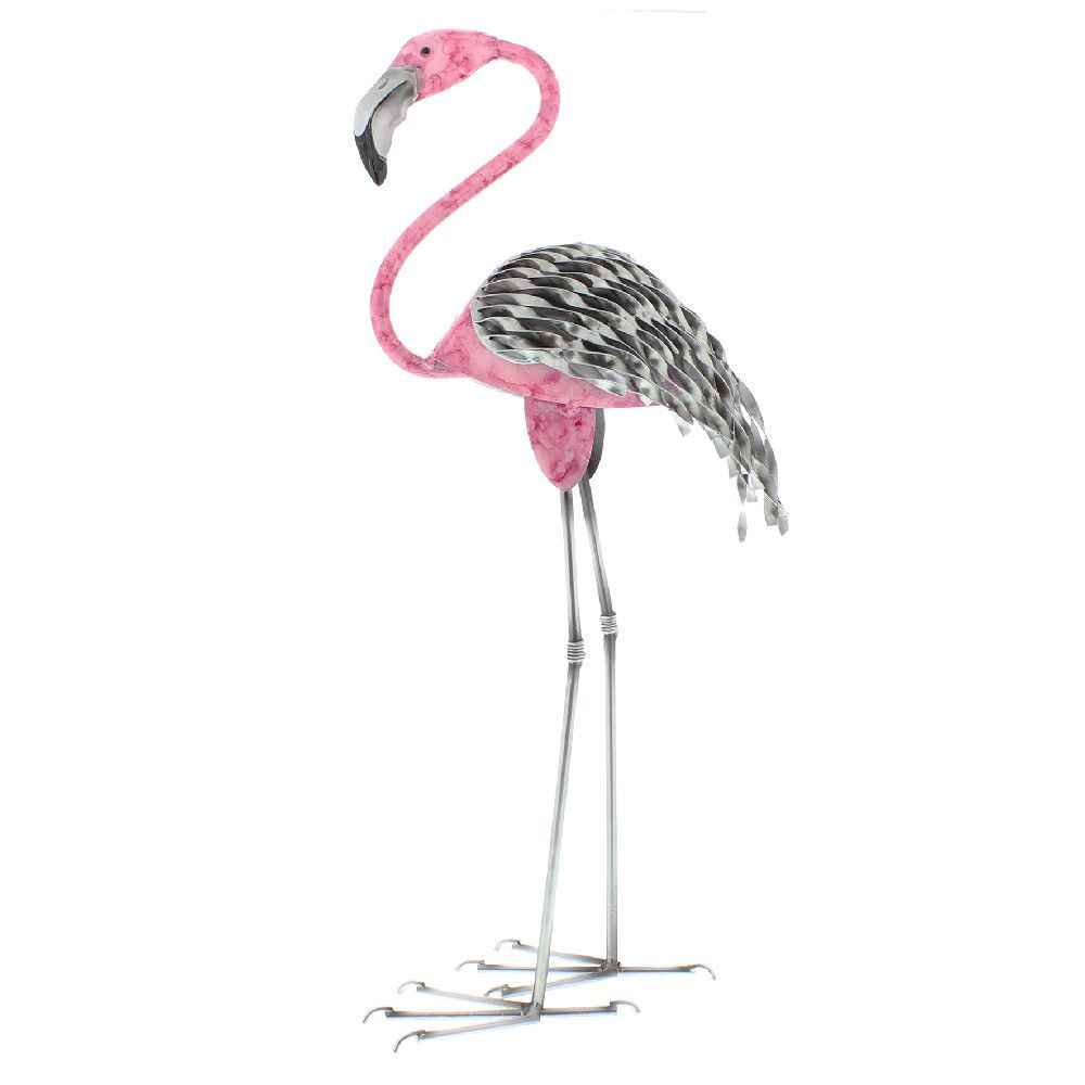 Hand Painted Metal Flamingo