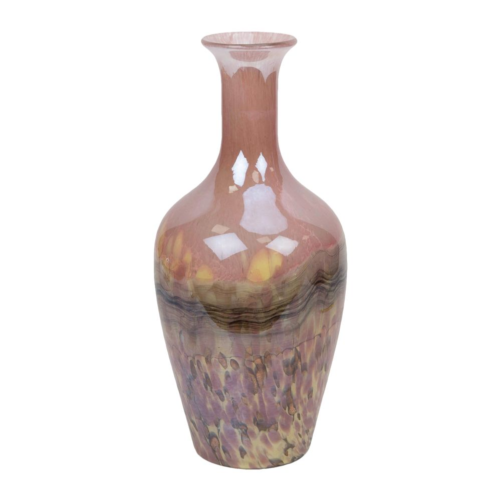Objets d'Art Glass Vase Pink Marble Effect 37cm