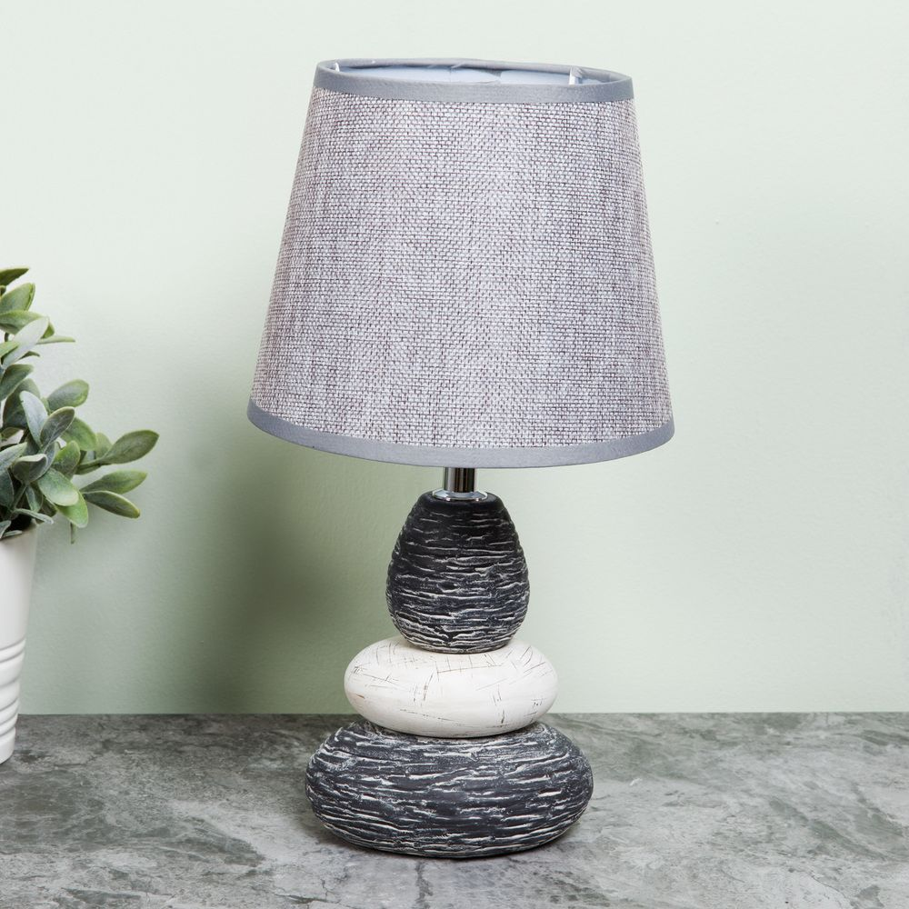 Pebble Lamp with Grey Shade 15cm