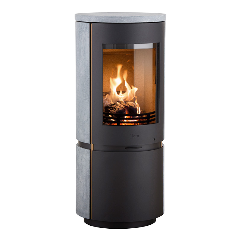 Heta Scan-Line 8 Wood Stove with Complete Soapstone Finish & Copper Trim