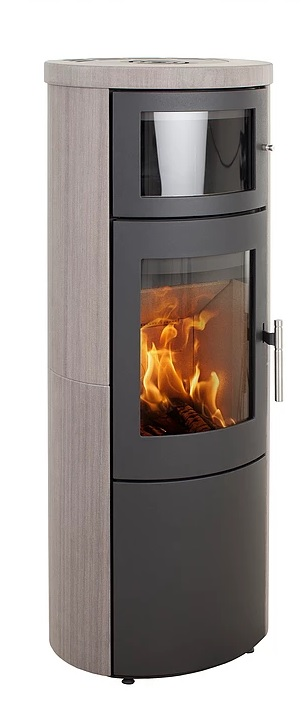 Heta Scan-Line 820B Wood Stove with Baking Oven & Complete Wenge Sandstone Finish