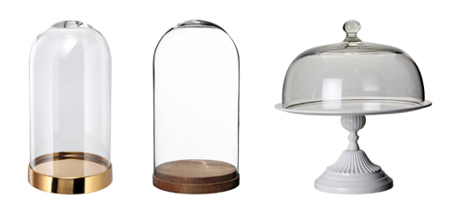 IKEA bell jars and cake stand
