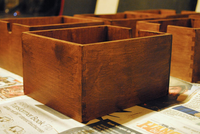 Drawers after application of stain