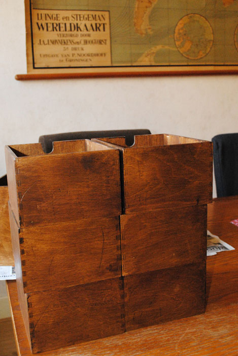 The stained drawers ready for lining