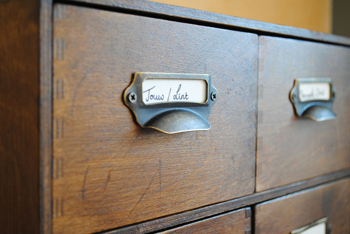 Close up of drawers showing labeled drawers