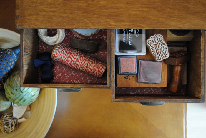 Shot of drawers from above showing contents