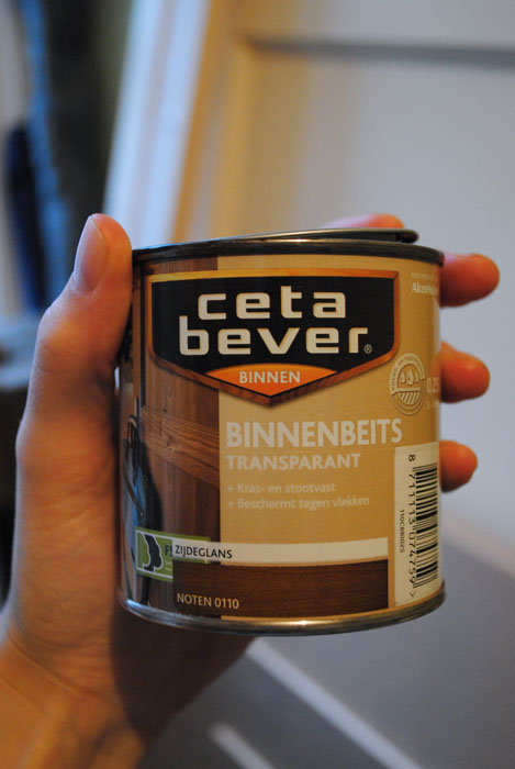 Tin of Indoor stain transparent acrylic